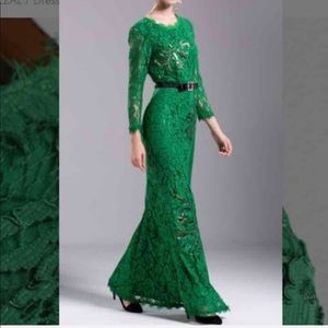 Dresses & Skirts - Long sleeve green lace evening dress size M